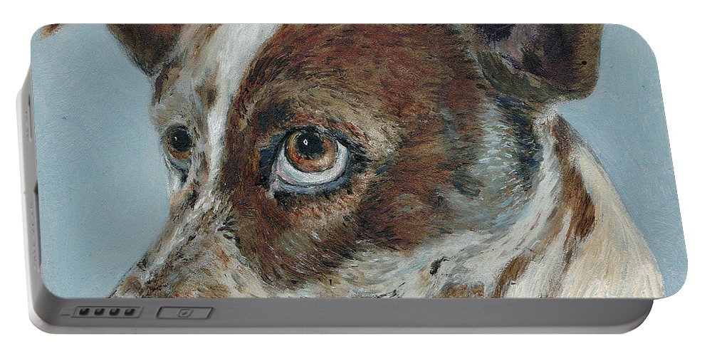 Dogs Portable Battery Charger featuring the painting The Rascal by Portraits By NC