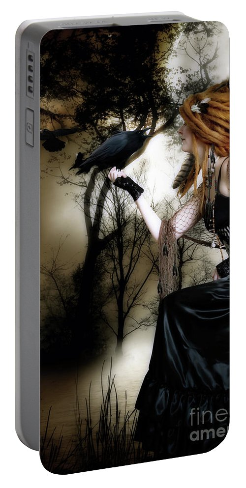 Nevermore Portable Battery Charger featuring the digital art The Raven by Shanina Conway