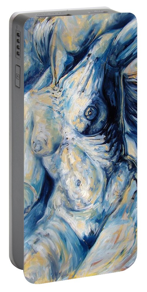 Surrealism Portable Battery Charger featuring the painting The Re-invention Of The Human Figure II by Darwin Leon