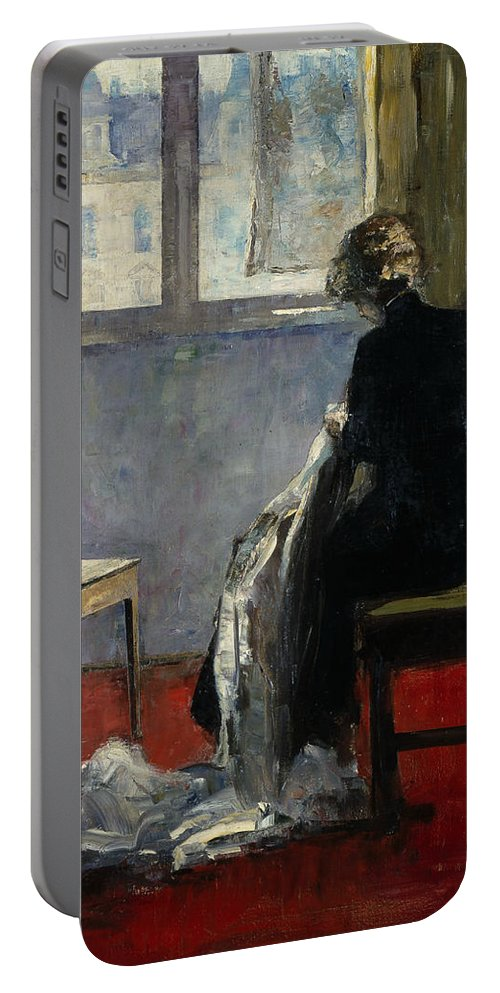 German Art Portable Battery Charger featuring the painting The Red Carpet by Lesser Ury