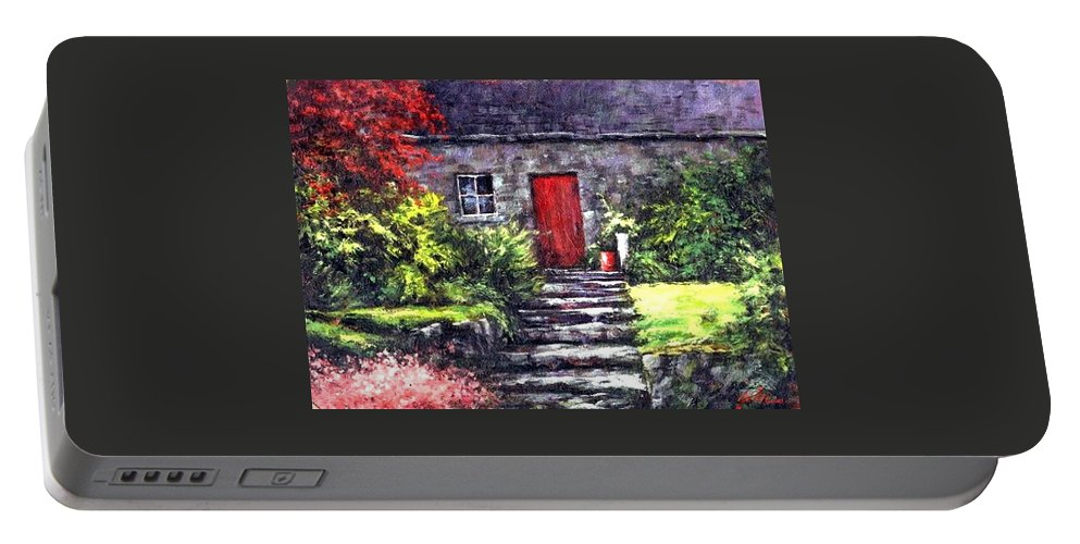 Ireland Portable Battery Charger featuring the painting The Red Door by Jim Gola