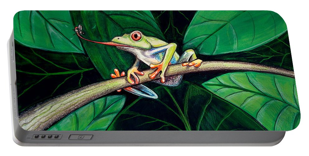Frog Portable Battery Charger featuring the painting The Red Eyed Tree Frog by Elizabeth Robinette Tyndall