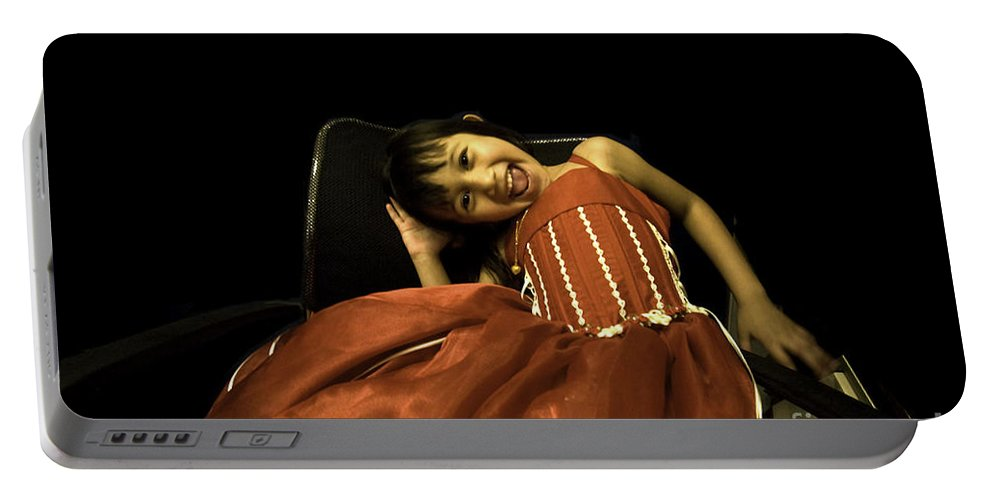 Girl Portable Battery Charger featuring the photograph The Red Party Dress by Madeline Ellis