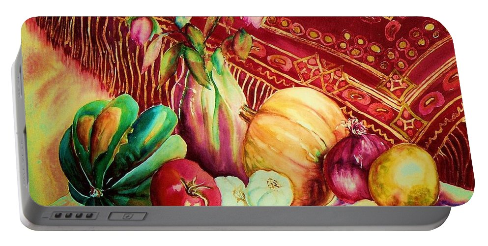 Reds Portable Battery Charger featuring the painting The Red Shawl by Carole Spandau