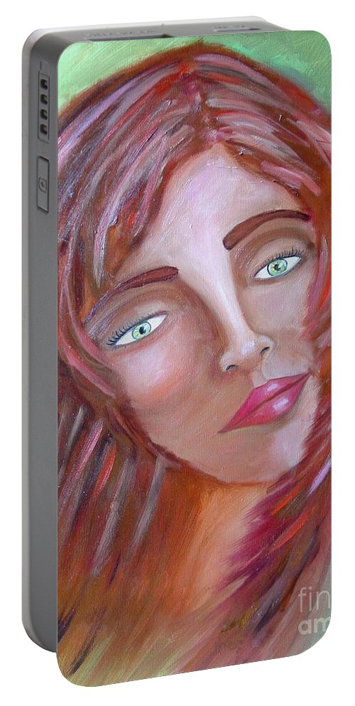 Redheads Portable Battery Charger featuring the painting The Redhead by Laurie Morgan