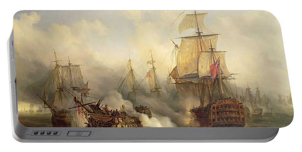 The Portable Battery Charger featuring the painting Unknown Title Sea Battle by Auguste Etienne Francois Mayer