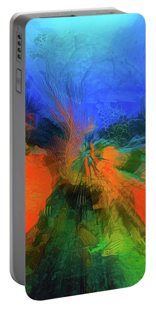 Atlantic Portable Battery Charger featuring the photograph The Reef In Watercolor Abstract by Debra and Dave Vanderlaan