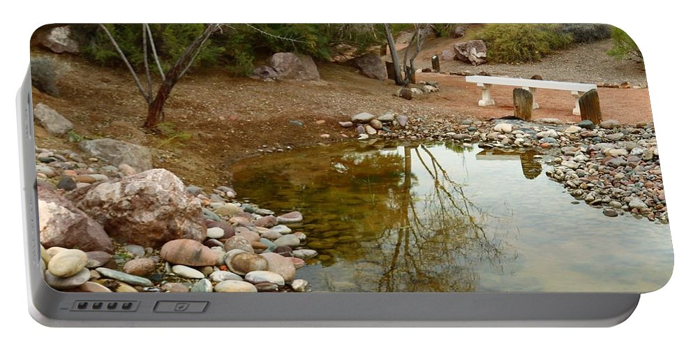 Clark County Portable Battery Charger featuring the photograph The Reflection By The Bench by Ann Boulais