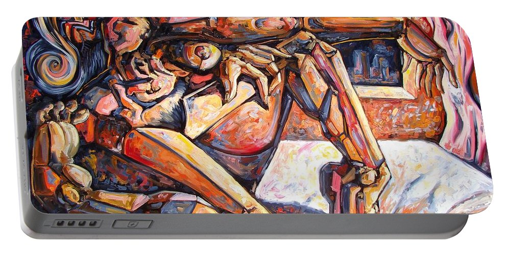 Surrealism Portable Battery Charger featuring the painting The Reflection Of The Muse by Darwin Leon