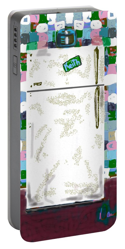 Appliances Refrigerator Tile Wall Paper Portable Battery Charger featuring the digital art The Refrigerator by David R Keith