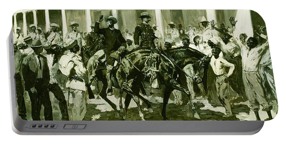 Portable Battery Charger featuring the painting The Return Of Gomez To Havana by Frederic Sackrider Remington