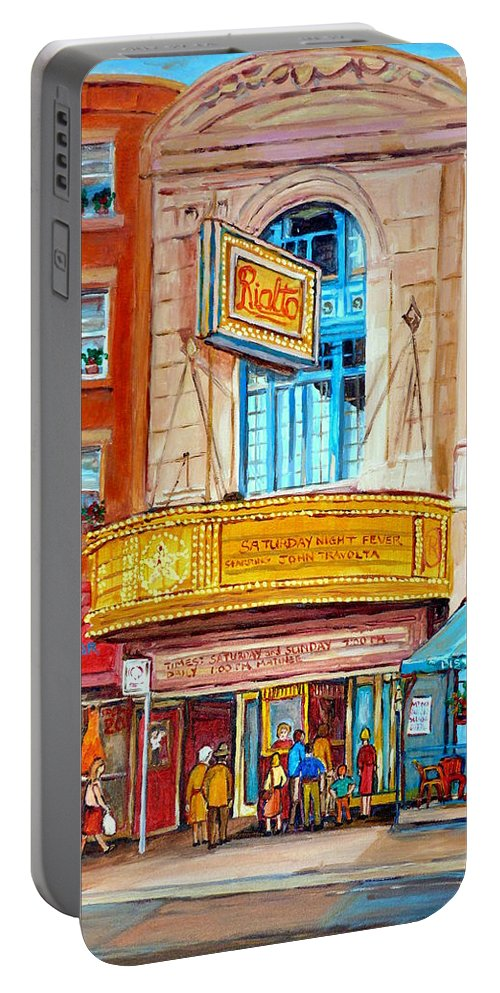 Montreal Portable Battery Charger featuring the painting The Rialto Theatre Montreal by Carole Spandau