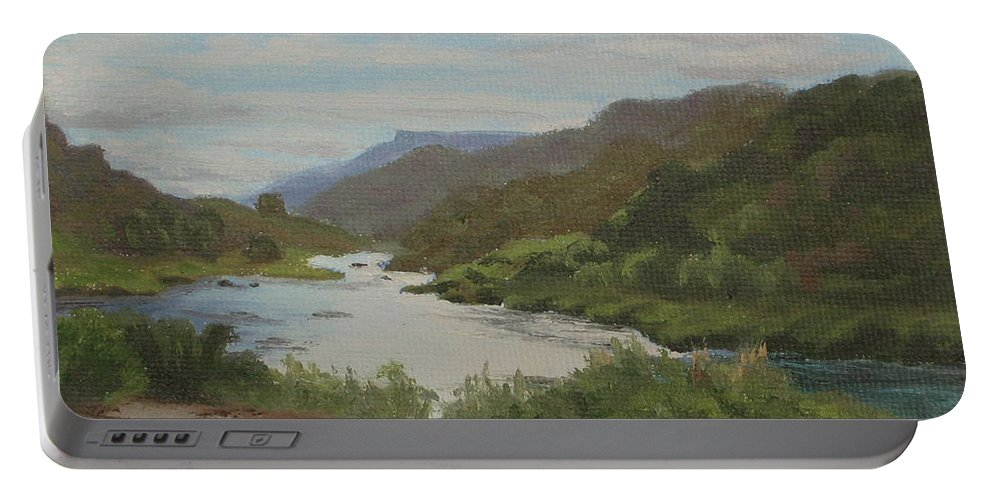 Landscape Portable Battery Charger featuring the painting The Rio Grande Between Taos And Santa Fe by Lea Novak