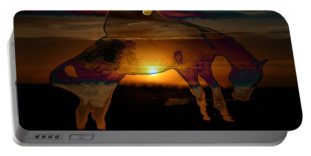 Cowboy Horse Bronc Rider Rodeo Sunrise Skyline Skyscape Sun Clouds Rider Portable Battery Charger featuring the photograph The Ripple Effect by Andrea Lawrence