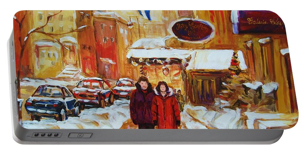 Streetscene Portable Battery Charger featuring the painting The Ritz Carlton by Carole Spandau