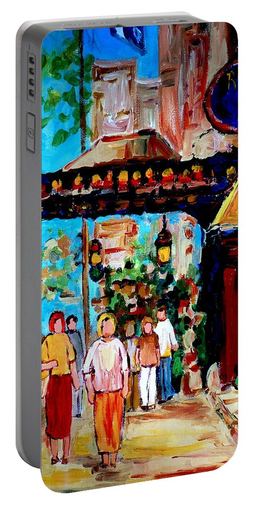 The Ritz Carlton In Spring Portable Battery Charger featuring the painting The Ritz Carlton In Spring by Carole Spandau