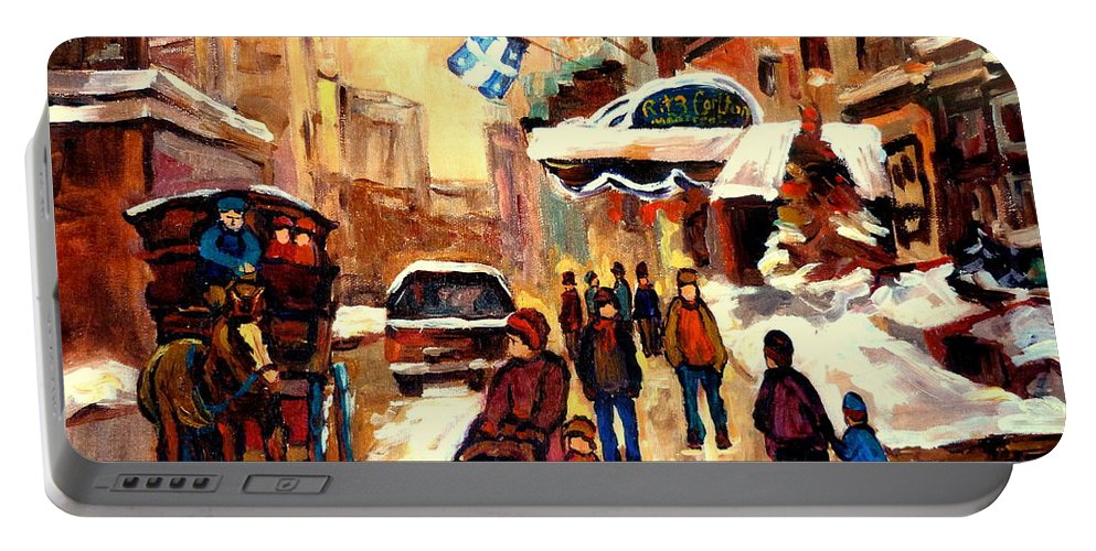 The Ritz Carlton Montreal Streetscenes Portable Battery Charger featuring the painting The Ritz Carlton Montreal Streetscene by Carole Spandau