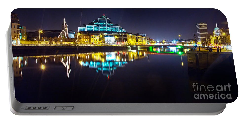 Night Romance Portable Battery Charger featuring the photograph The River Liffey Night Romance 2 by Alex Art and Photo