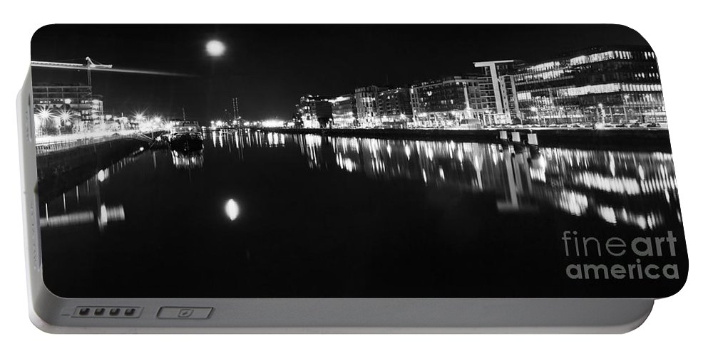 Night Romance Portable Battery Charger featuring the photograph The River Liffey Night Romance Bw by Alex Art and Photo