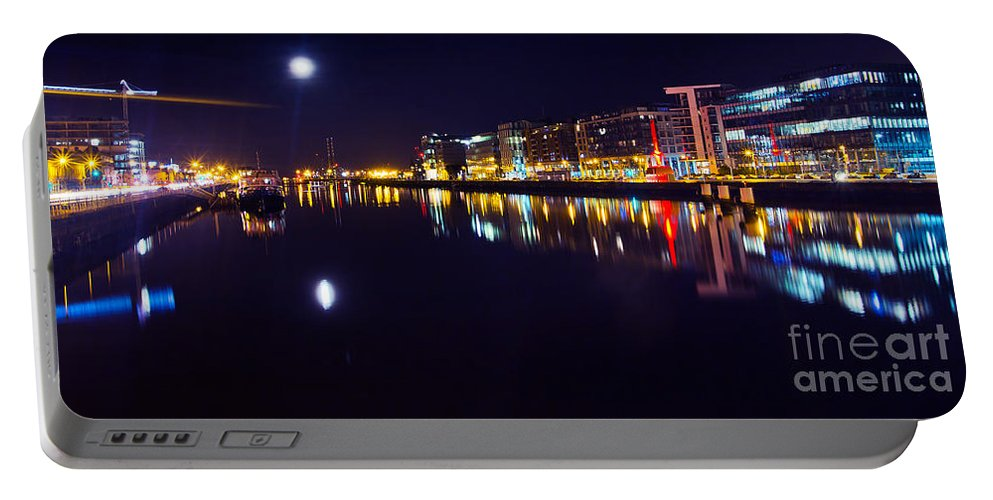 Night Romance Portable Battery Charger featuring the photograph The River Liffey Night Romance V2 by Alex Art and Photo