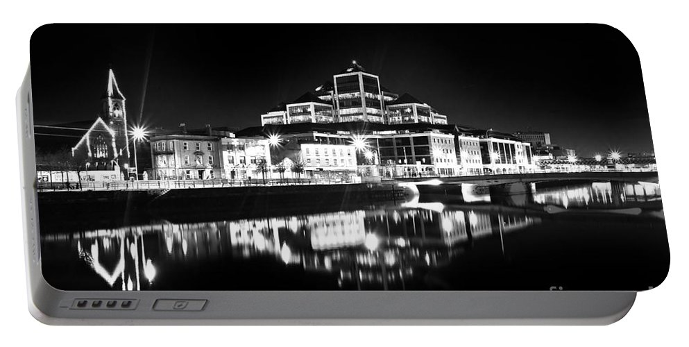 The Convention Centre Reflection Portable Battery Charger featuring the photograph The River Liffey Reflections 2 Bw by Alex Art and Photo