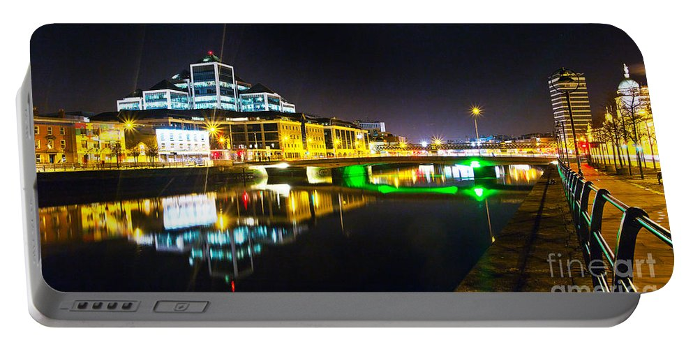 River Liffey Reflections Portable Battery Charger featuring the photograph The River Liffey Reflections 3 by Alex Art and Photo
