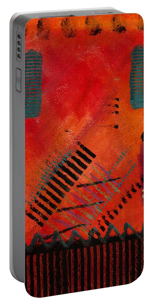 Orange Portable Battery Charger featuring the painting The Road Between Us by Angela L Walker