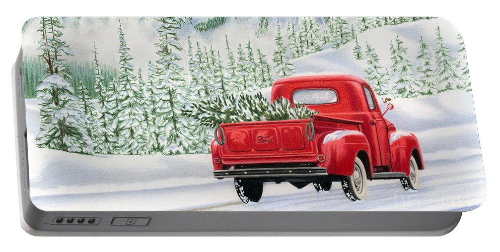 Christmas Truck Portable Battery Charger featuring the painting The Road Home by Sarah Batalka