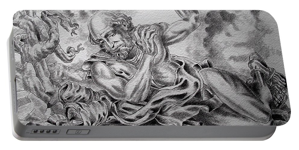 Damascus Portable Battery Charger featuring the drawing On The Road To Damascus by Gary Renegar