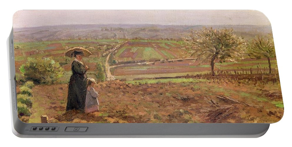 The Portable Battery Charger featuring the painting The Road To Rouen by Camille Pissarro