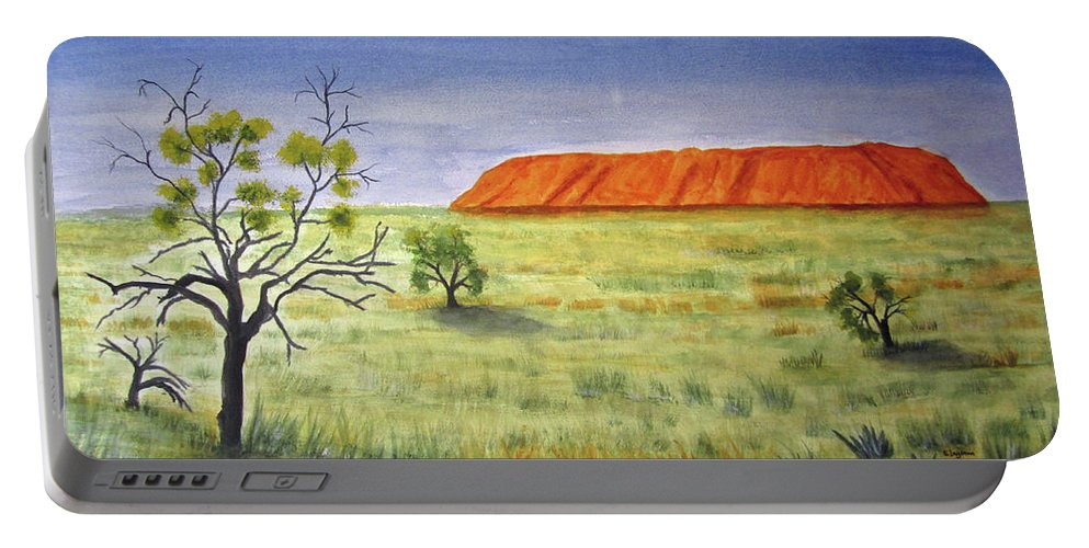 Landscape Portable Battery Charger featuring the painting The Rock by Elvira Ingram