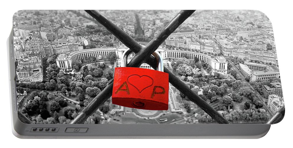 Love Portable Battery Charger featuring the digital art The Romantically Love Inscribed Padlocks On The Eiffel Tower, Pa by Cranach Studio