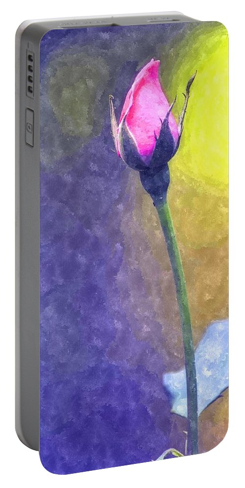 Rose Portable Battery Charger featuring the photograph The Rose Bud by Image Takers Photography LLC - Carol Haddon