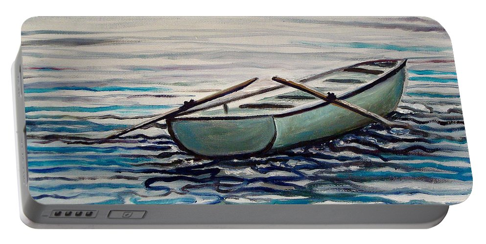 Water Portable Battery Charger featuring the painting The Row Boat by Elizabeth Robinette Tyndall