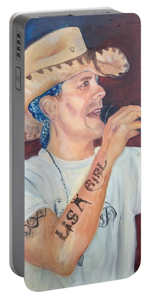 Up And Coming Country Singer Rowdy Mc Caran. Cowboy Portable Battery Charger featuring the painting The Rowdy One by Charme Curtin