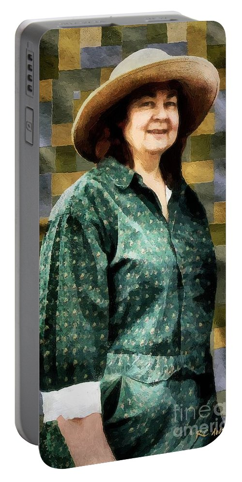 Artisan Portable Battery Charger featuring the painting The Rugmaker by RC DeWinter