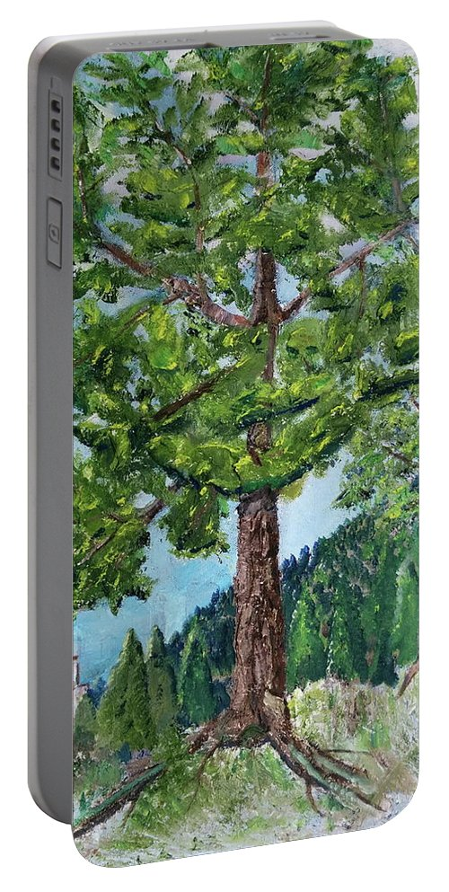 Scenery Portable Battery Charger featuring the painting The Ruins by Sal Cutrara