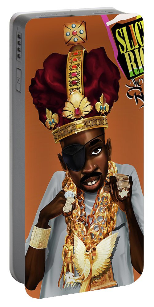 Slick Rick Portable Battery Charger featuring the drawing The Rula by Nelson Dedos Garcia