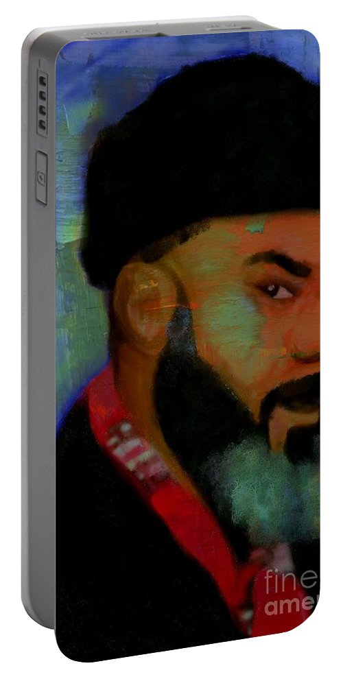 African American Artist Portable Battery Charger featuring the digital art The Russian Diplomat by Vannetta Ferguson