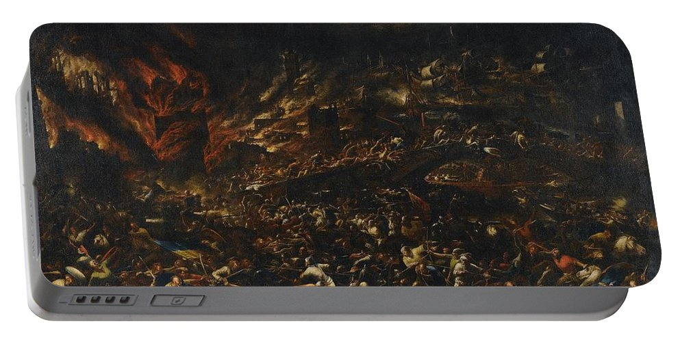 Gillis Van Valkenborch The Sack Of Troy Portable Battery Charger featuring the painting The Sack Of Troy by Gillis van