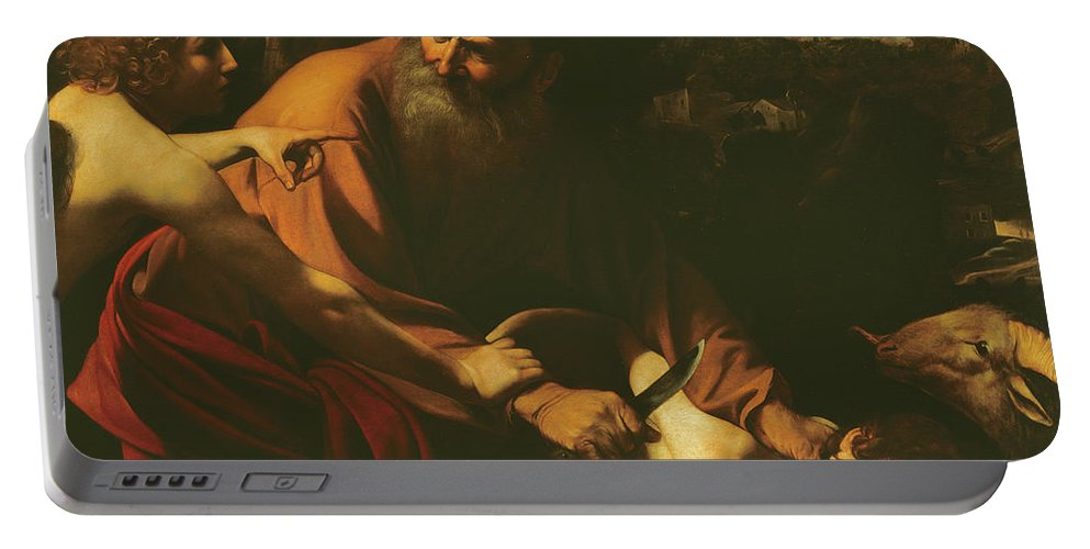 Caravaggio Portable Battery Charger featuring the painting The Sacrifice Of Isaac by Caravaggio