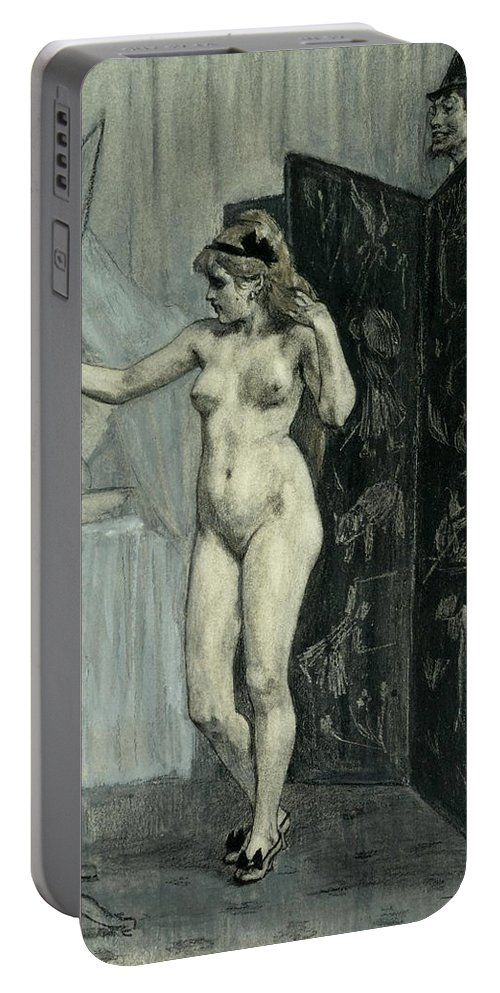 Felicien Rops Portable Battery Charger featuring the drawing The Screen by Felicien Rops