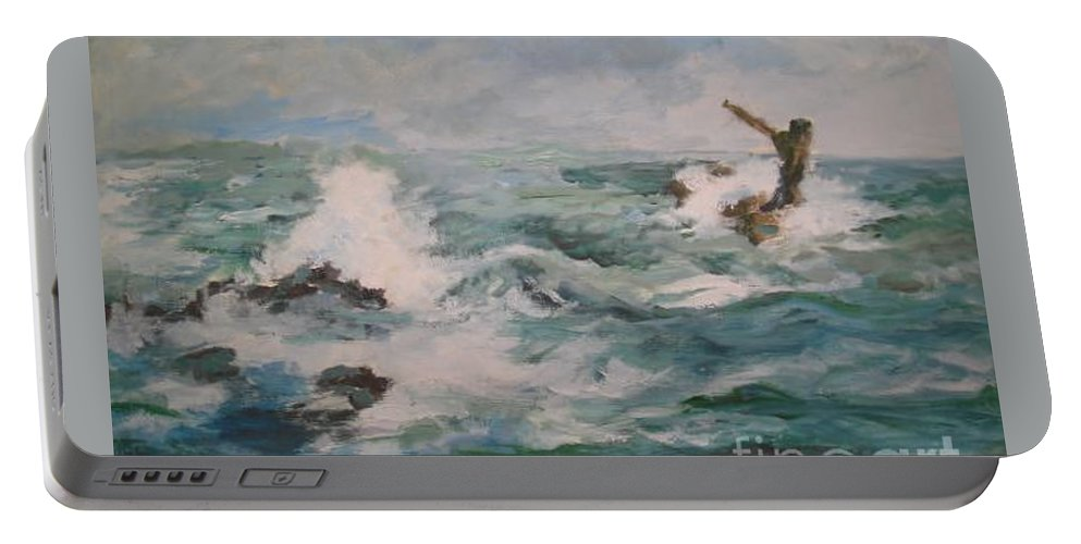 Realistic Portable Battery Charger featuring the painting The Sea by Rushan Ruzaick