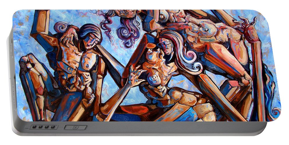 Surrealism Portable Battery Charger featuring the painting The Seduction Of The Muses by Darwin Leon