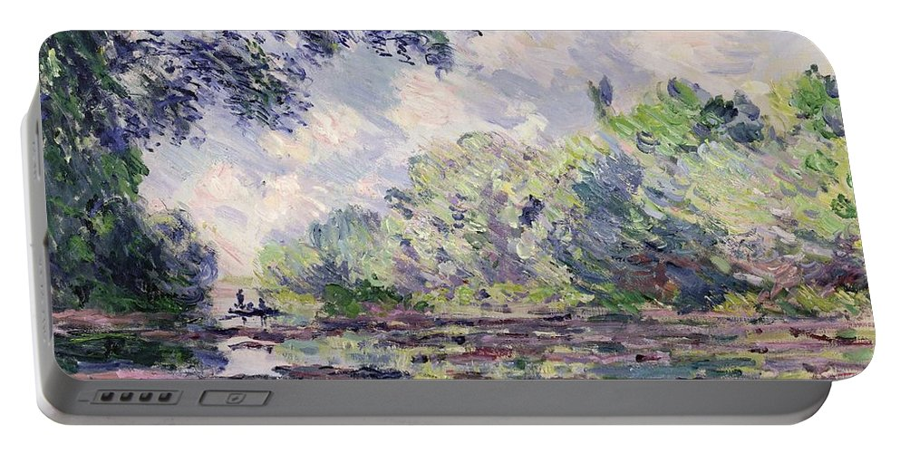 French Portable Battery Charger featuring the painting The Seine At Giverny by Claude Monet