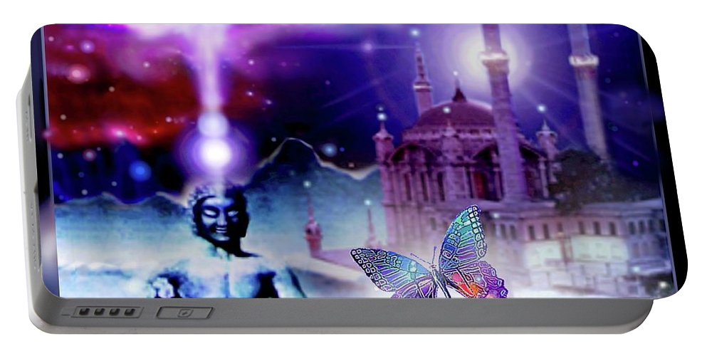 Buddha Portable Battery Charger featuring the mixed media The Serenity Of Wisdom... by Hartmut Jager