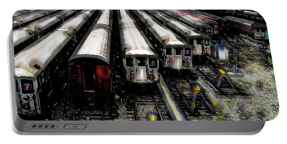 Queens Portable Battery Charger featuring the photograph The Seven Train Yard Queens Ny by Iowan Stone-Flowers