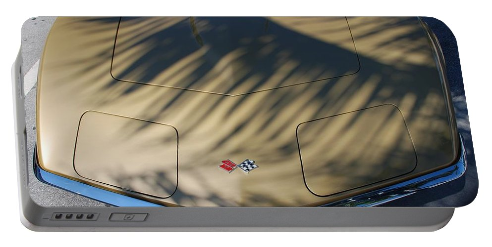 Corvette Portable Battery Charger featuring the photograph The Shadow Vette by Rob Hans