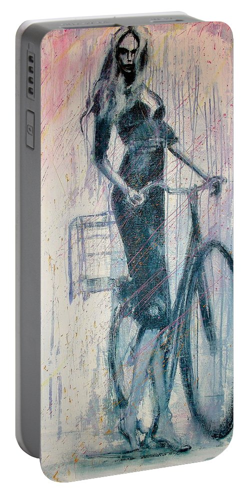 Portrait Art Portable Battery Charger featuring the painting The She Wolf by Jarmo Korhonen aka Jarko