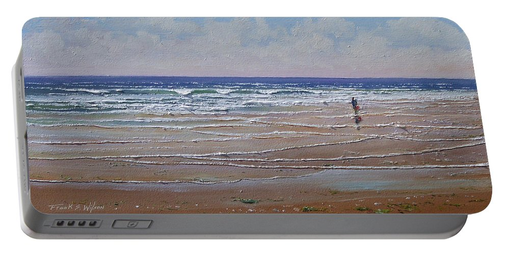 Seascape Portable Battery Charger featuring the painting The Shell Collector by Frank Wilson